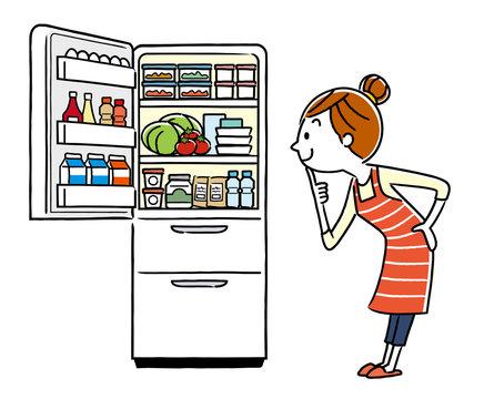 イラスト素材:主婦と冷蔵庫