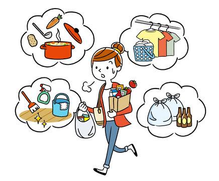 イラスト素材:家事に追われる主婦