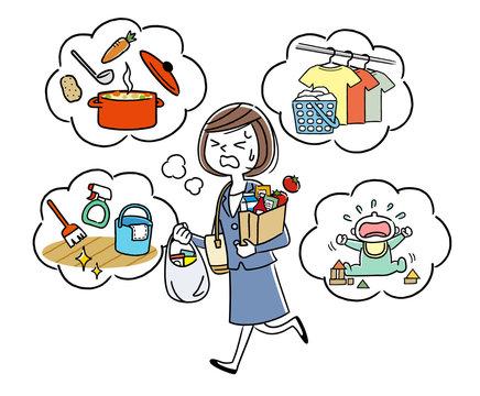 イラスト素材:働きながら家事をする主婦