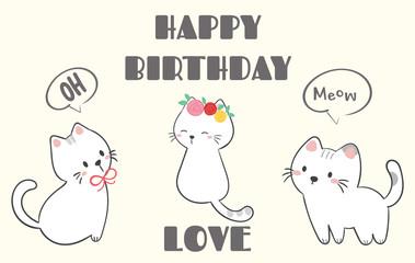 Happy birthday with cute cat vector.