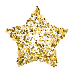 Golden star vector banner. Simple form. Template , card, vip, exclusive, certificate, gift luxury privilege voucher store present shopping