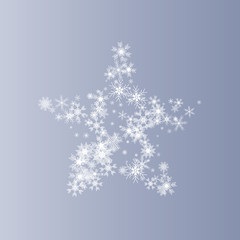 Snow star. A star of beautiful snowflakes. Christmas and New Year background