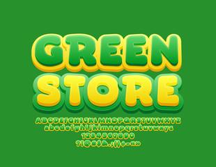 Vector Funny Design Logo Green Store. 3D Bright Font for Children