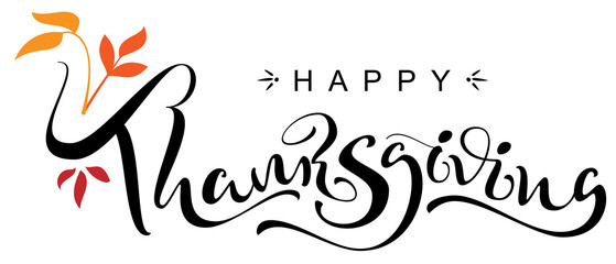 Happy Thanksgiving Day handwritten calligraphy text greeting card