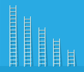 Big and small white step ladder near the wall. Vector illustration set.