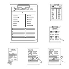 Vector illustration of form and document sign. Set of form and mark stock vector illustration.