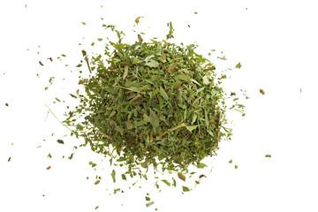 stevia. Dry stevia  powder isolated on white background.Stevia rebaudiana, sweetener herb