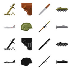 Vector illustration of weapon and gun symbol. Set of weapon and army stock vector illustration.