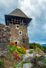 main tower of Nevytsky castle. ruins of medieval fortress, popular tourist destination of TransCarpathia