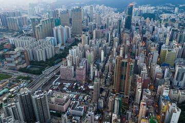 Top view of Hong Kong downtown