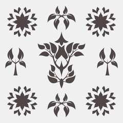 Set of abstract foliate signs. Tree template.