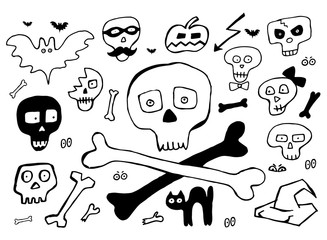 Bones and skulls hand drawn elements for Halloween