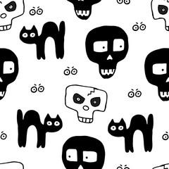 Skulls Hand Drawn Seamless Pattern for Halloween