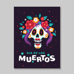 The festive poster for the Mexican day of the dead Dia de los Muertos with a hand-painted skull. Unique art for t-shirts, fashion design, gift products.