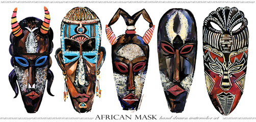 african mask hand drawn watercolor illustration set