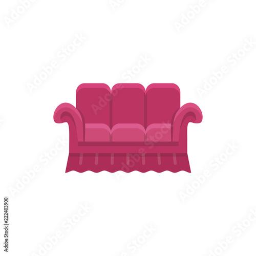 Red Bridgewater Sofa Vector Illustration Flat Icon Of Settee