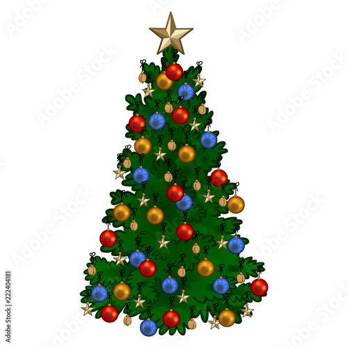 weihnachtsbaum geschm ckt mit bunten weihnachtskugeln goldsternen und waln ssen vektor. Black Bedroom Furniture Sets. Home Design Ideas