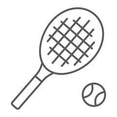 Tennis thin line icon, game and sport, racket sign, vector graphics, a linear pattern on a white background, eps 10.