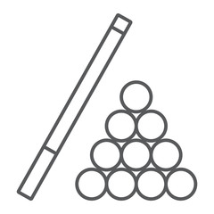 Billiard thin line icon, game and sport, pool sign, vector graphics, a linear pattern on a white background, eps 10.
