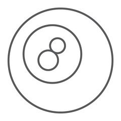 Pool ball thin line icon, game and sport, ball sign, vector graphics, a linear pattern on a white background, eps 10.