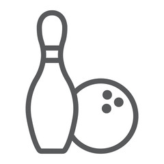 Bowling line icon, game and sport, bowling pins and ball sign, vector graphics, a linear pattern on a white background, eps 10.