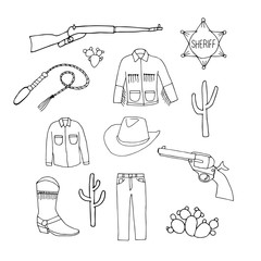 Set of cowboy symbols. Cowboy jeans, shirt,  jacket,  hat, boots,  gun and  sheriff's badge. Hand drawn vector illustration in doodles  cartoon style