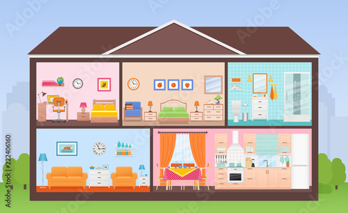 """""""House interior. Vector. House in cut. Cross section with ..."""