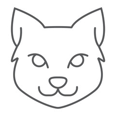 Cat thin line icon, halloween and pet, animal sign, vector graphics, a linear pattern on a white background