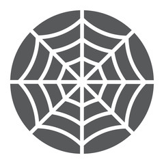 Spider web glyph icon, halloween and decoration, cobweb sign, vector graphics, a solid pattern on a white background