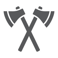 Axes glyph icon, weapon and hatchet, crossed axes sign, vector graphics, a solid pattern on a white background,