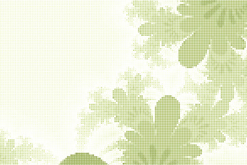 Palm trees and greenery with copy space - halftone vector design