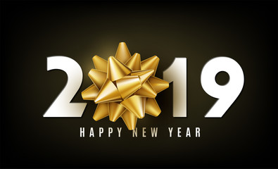 2019 Happy New Year vector background with golden gift bow, white numbers and wishing. Christmas celebrate design. Festive premium concept template for holiday.