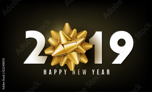 2019 happy new year vector background with golden gift bow white numbers and wishing