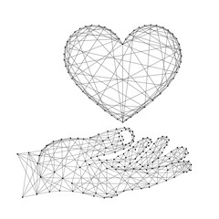 Sign of love heart supported by hand palm from abstract futuristic polygonal black lines and dots. Vector illustration.