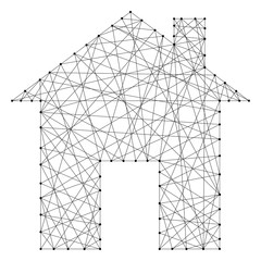 House schematic image of the icon from abstract futuristic polygonal black lines and dots. Vector illustration.