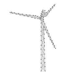 Wind generator mills turbine renewable electrical energy from abstract futuristic polygonal black lines and dots. Vector illustration.