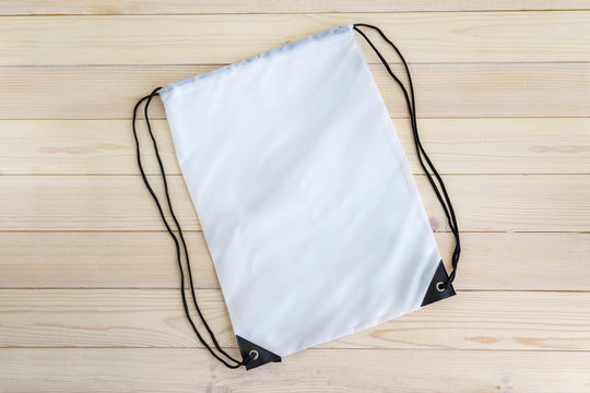 White drawstring pack template, mockup of bag for sport shoes