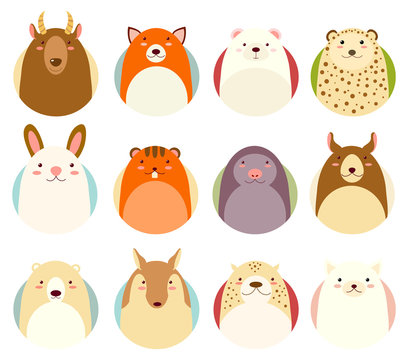 Set of avatars icons with cute animals