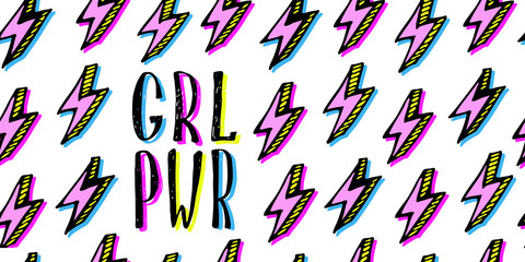 Girl power quotes and illustrations in pop-art style