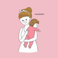 Cartoon cute mom and baby burping vector.