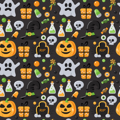 Seamless pattern with Halloween elements