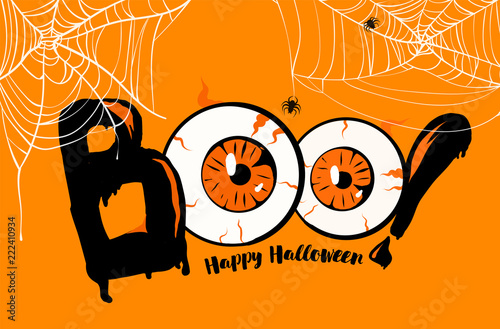 happy halloween banner background boo lettering with orange eyes