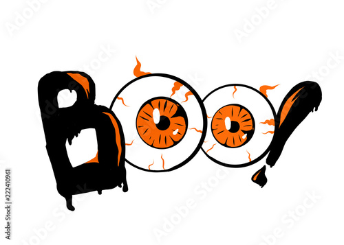 boo halloween banner background with eyes lettering poster card