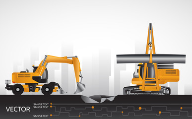 Excavator and pipelayer, construction equipment.