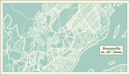 Brazzaville Congo City Map in Retro Style. Outline Map.