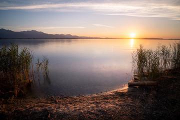 Beautiful sunset at lake Chiemsee in Bavaria / Germany