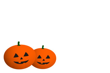 Halloween greeting card blank. Three-dimensional 3D pumpkins on white background with copy space. Vector.