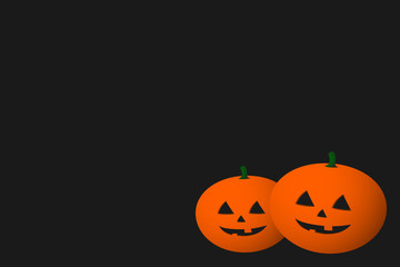 Halloween greeting card blank. Two three-dimensional 3D pumpkins on black background with copy space. Vector.