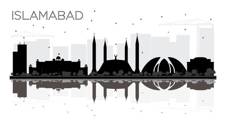 Islamabad Pakistan City skyline black and white silhouette with Reflections.