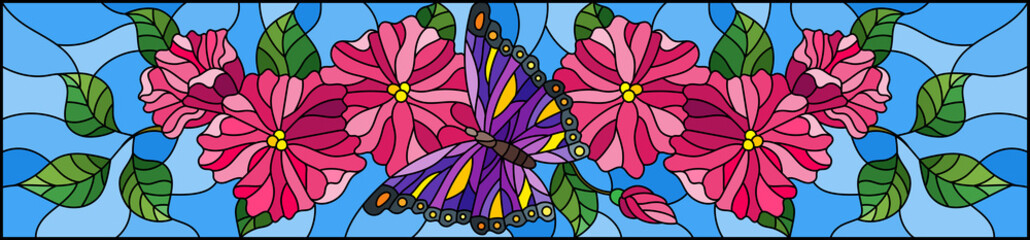 Illustration in stained glass style with abstract curly pink flowers and purple butterfly on blue background , horizontal image